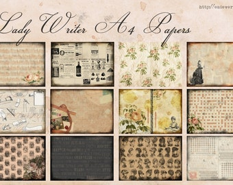 Scrapbooking Papers - Lady Writer - Digital Collage, Scrapbooking, Decoupage