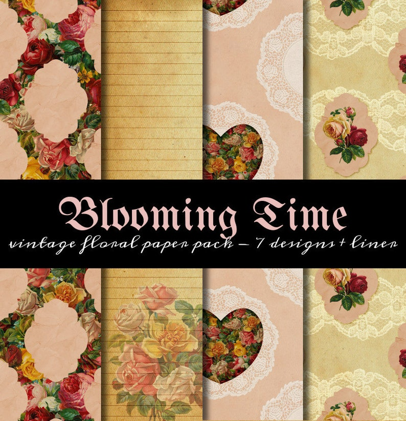 Blooming Time Paper Pack  suitable for printable wrapping image 0