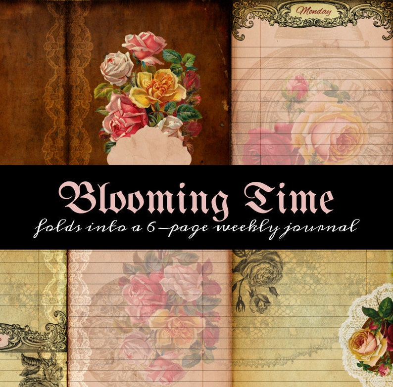 Printable One Page Scrapbooklet  Blooming Time  perfect for image 0