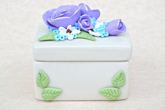 READY TO SHIP Carved  Wheel-Thrown Ceramic Box Jewelry or Ring Box  Engagement or Wedding Gift Turquoise Floral Jewelry Box
