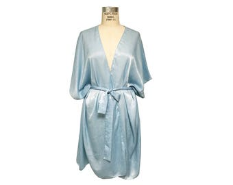 Light Blue Silky Satin Kimono with Belted Sash