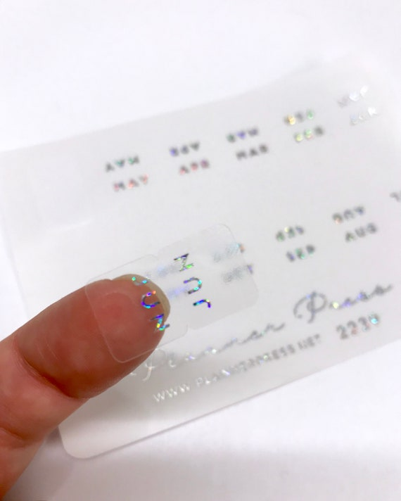 monthly glitter holo clear foiled tabs for planners and etsy