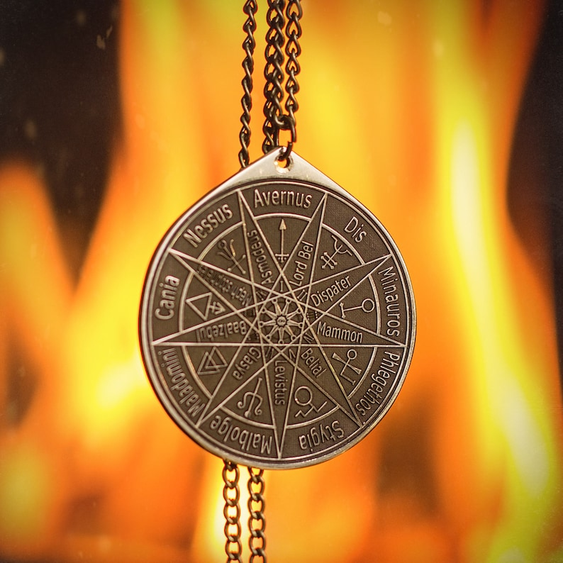 Nine Hells and layer Rulers solomon seal pendant kabbalah amulet