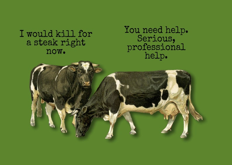 Just Because Greeting Card Cows Humorous