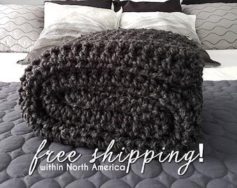 Charcoal Grey Crochet Blanket,  Wool Blanket, Throw Blanket,  Grey Throw,  Crochet Throw, Chunky Crochet Blanket, Charcoal