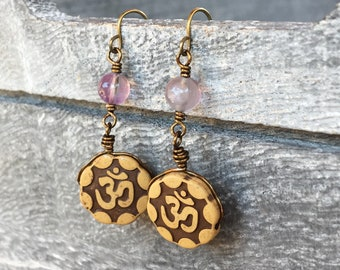9382a1929 Om aum namaste meditation symbol, semiprecious gemstone fluorite crystal  bead healing dangly earrings, metaphysical jewelry, genuine stones