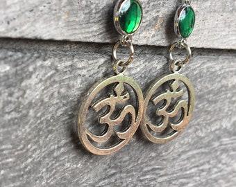 9092aaf71 Om aum namaste silver cut out charm dangle earrings, green psychedelic  bezels, hippie boho bohemian gypsy simple hypoallergenic jewelry