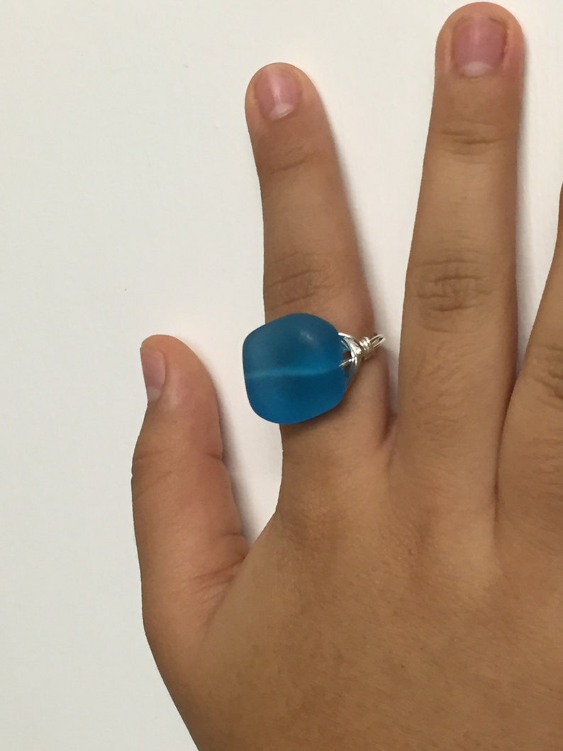 Blue Geometric Sea Glass Silver Wire Wrapped Ring