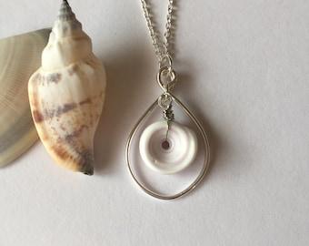 Hawaiian Puka Shell Silver Wire Frame Necklace