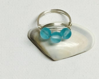 Triple Blue Sea Glass Silver Wire Wrapped Ring