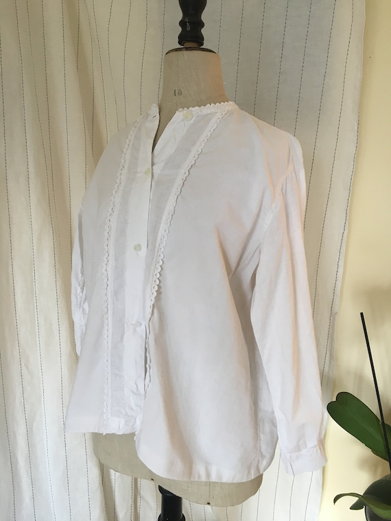 French antique edwardian victorian cotton white b… - image 3