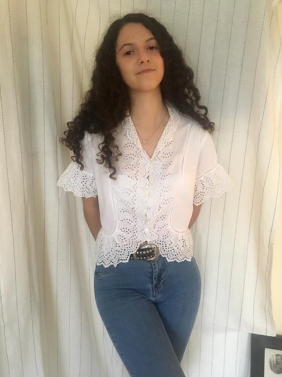 Antique Edwardian Victorian white cotton blouse