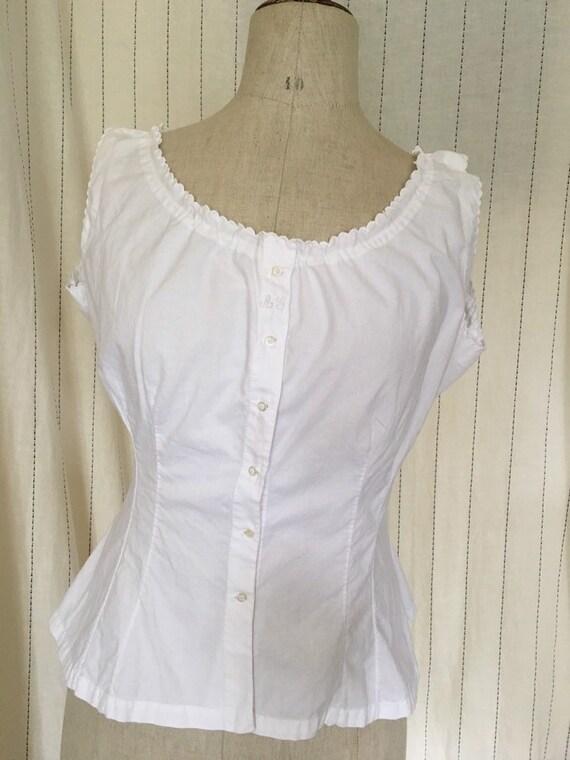 Antique Edwardian Victorian White Cotton Lacy Cor… - image 4