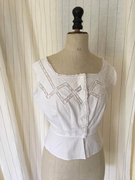 Antique Edwardian Victorian Cotton White Lacy Cor… - image 3