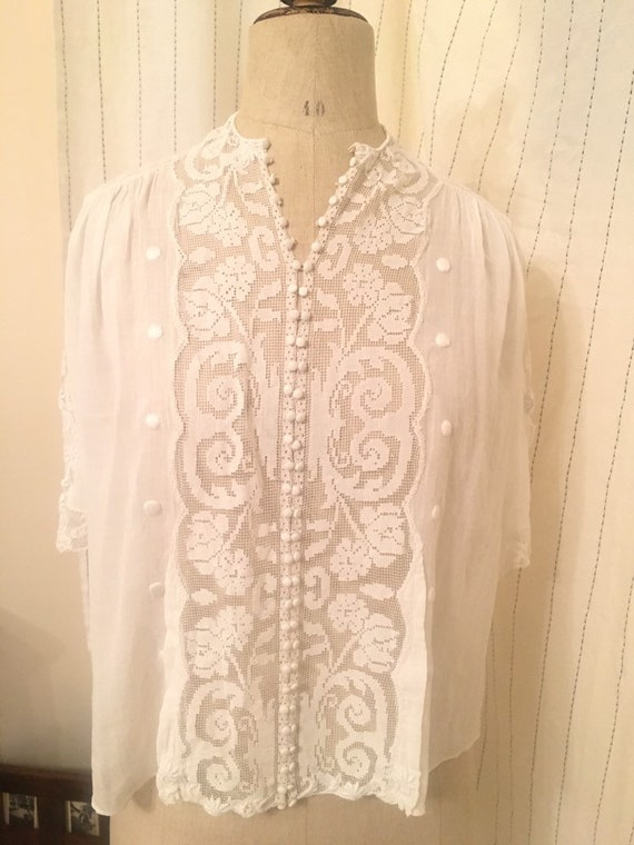French antique edwardian victorian cotton lacy wh… - image 3