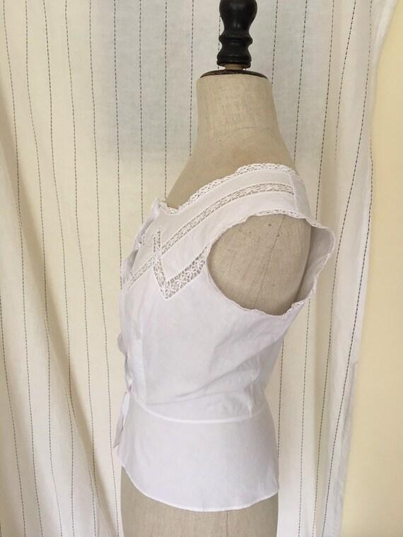 Antique Edwardian Victorian Cotton White Lacy Cor… - image 8