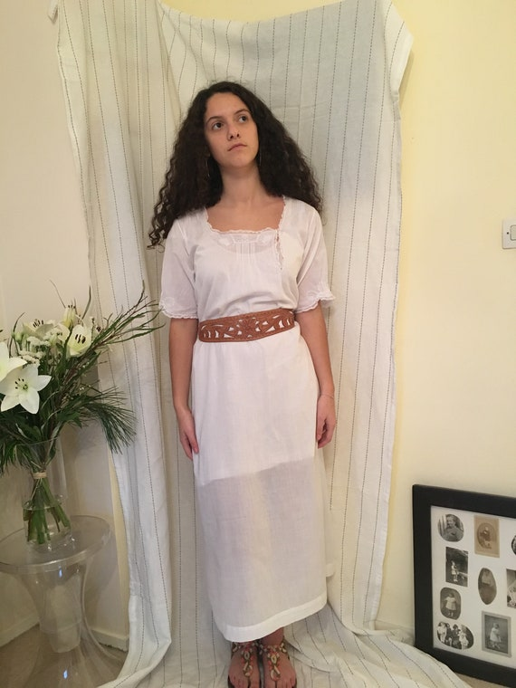Antique Edwardian Victorian white cotton Lawn dres