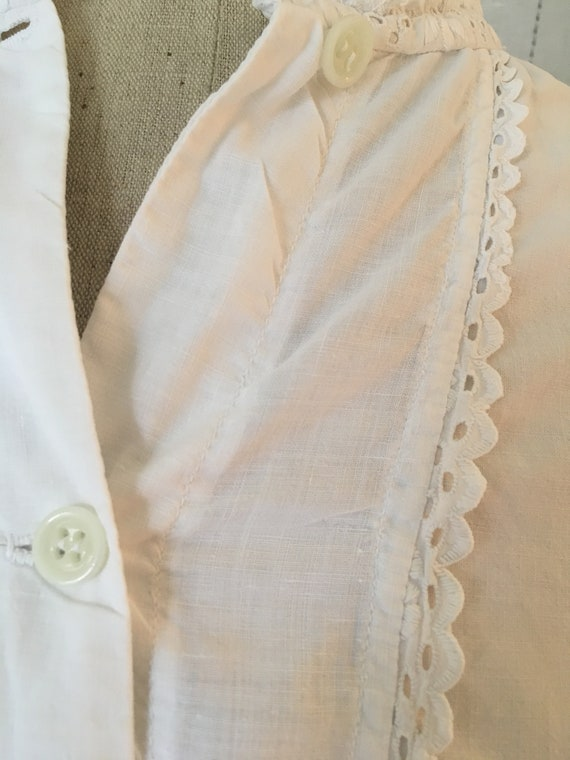French antique edwardian victorian cotton white b… - image 5