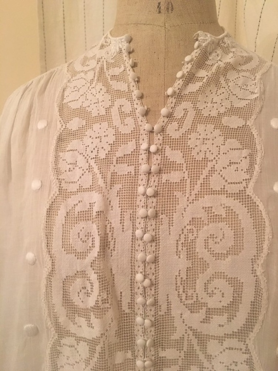 French antique edwardian victorian cotton lacy wh… - image 4