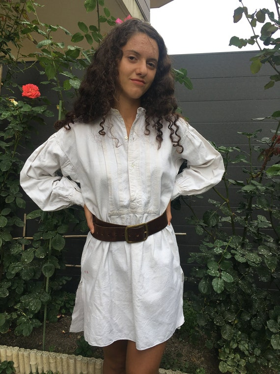 Antique French linen cotton smock tunic shirt dres