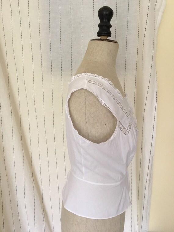 Antique Edwardian Victorian Cotton White Lacy Cor… - image 10