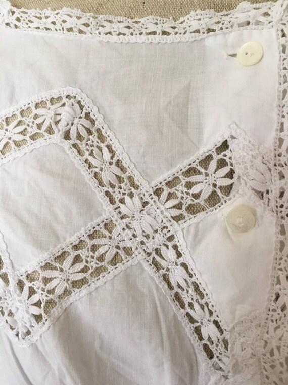 Antique Edwardian Victorian Cotton White Lacy Cor… - image 7