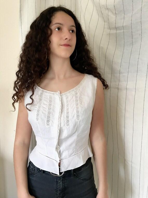 Antique Edwardian Victorian Cotton White Corset co