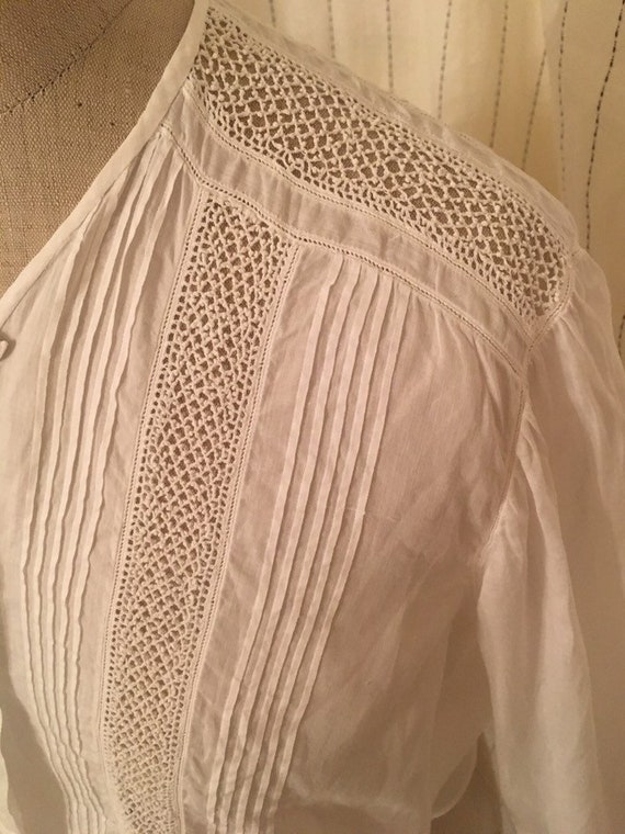 French antique edwardian victorian cotton lacy wh… - image 9