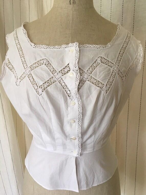 Antique Edwardian Victorian Cotton White Lacy Cor… - image 4