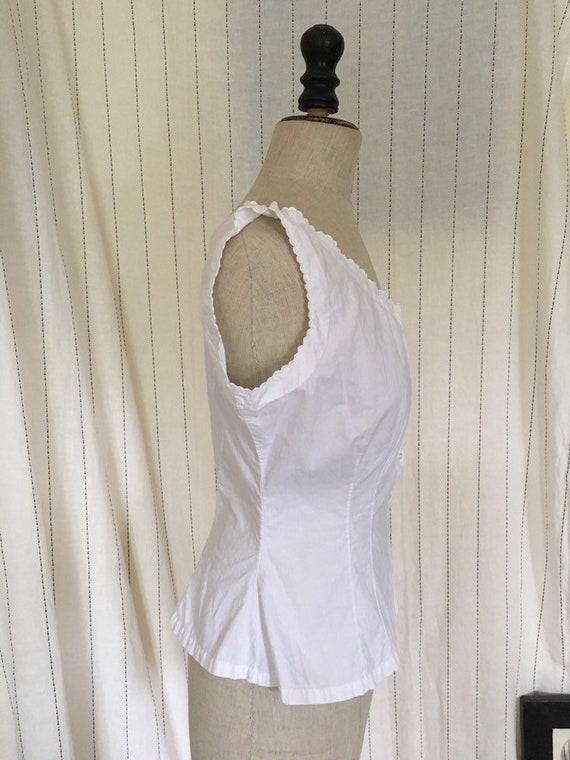 Antique Edwardian Victorian White Cotton Lacy Cor… - image 10