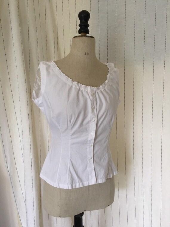 Antique Edwardian Victorian White Cotton Lacy Cor… - image 3