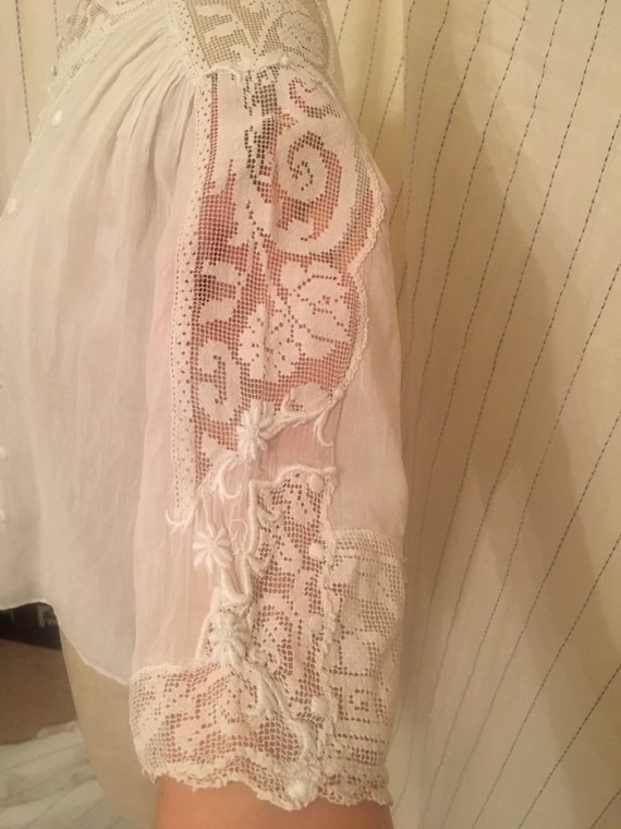 French antique edwardian victorian cotton lacy wh… - image 6
