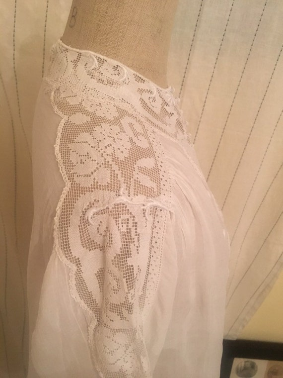 French antique edwardian victorian cotton lacy wh… - image 8