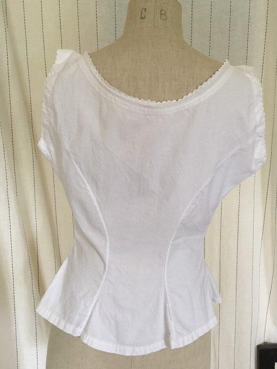 Antique Edwardian Victorian White Cotton Lacy Cor… - image 9
