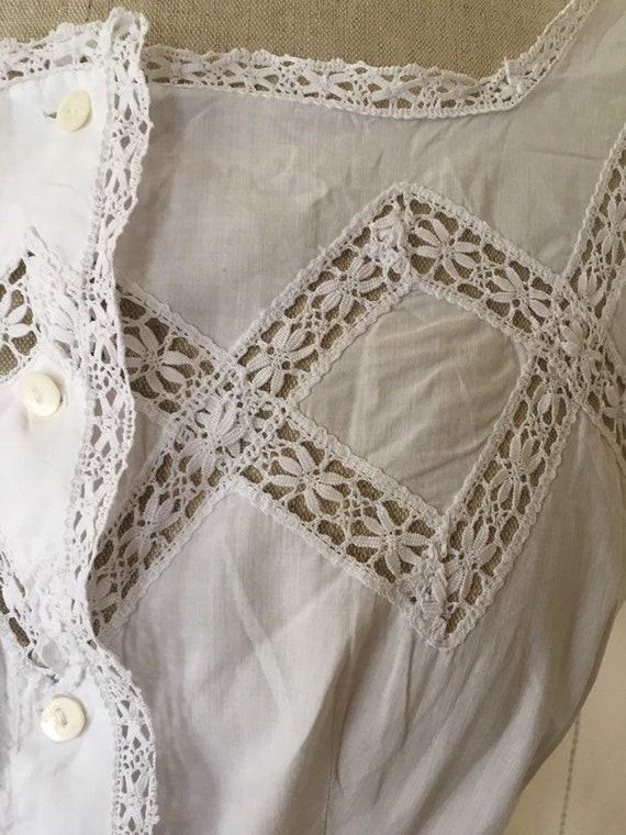 Antique Edwardian Victorian Cotton White Lacy Cor… - image 6