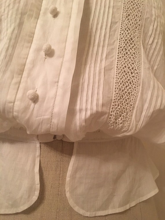 French antique edwardian victorian cotton lacy wh… - image 5