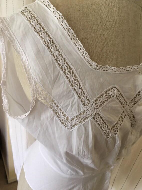 Antique Edwardian Victorian Cotton White Lacy Cor… - image 5