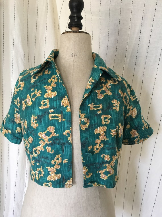 1940s green bolero jacket crop top - image 10