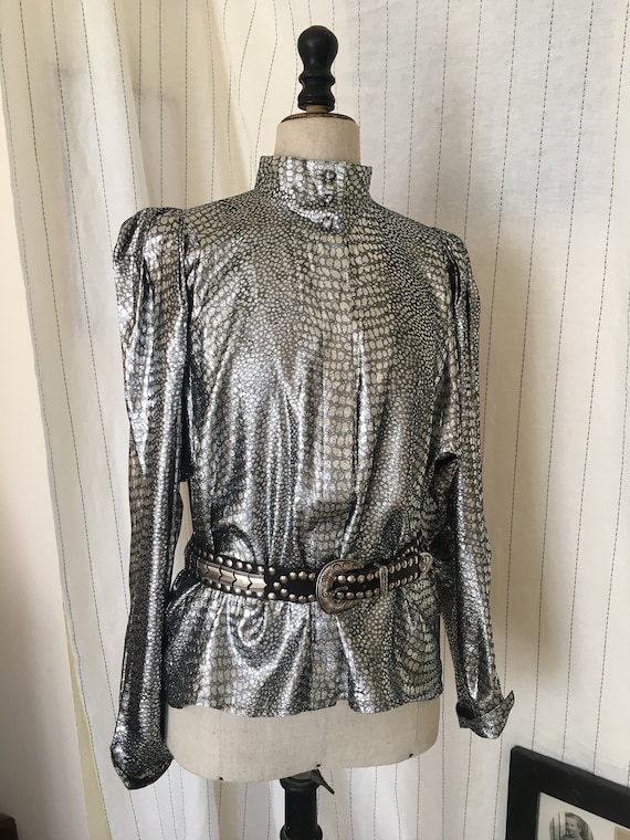 Vintage 80s metallic blouse 1980s silver snakeskin