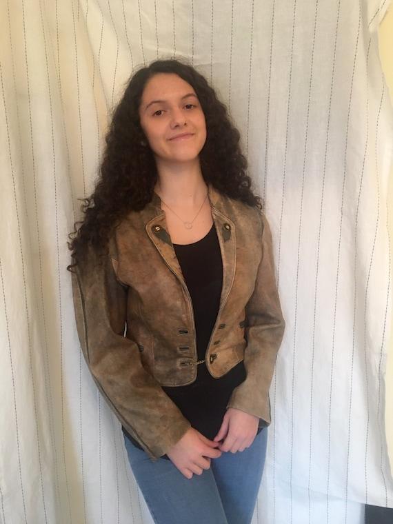 Vintage 1980s puff sleeves leather jacket