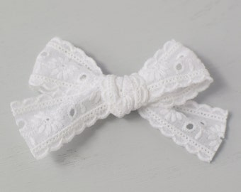 Cotton Lace Hair Bow  ee5f81cf64a