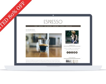 80% - Espresso - Minimal responsive Wordpress Theme - Self Hosted - Perfect for blogging while enjoying your morning coffee.