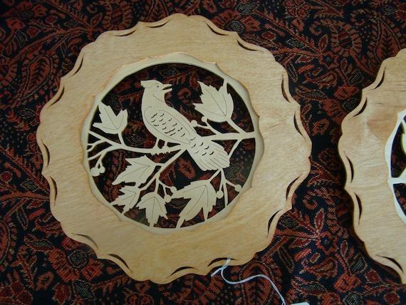 Wooden Scroll Saw Art Woodland Deer Scene Decorative Wall Plaque Gift