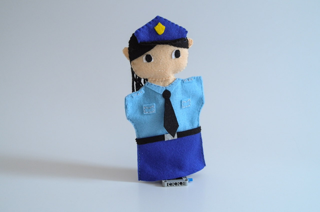 Police Woman Hand Puppet Police Officer Puppet Eco Friendly Etsy