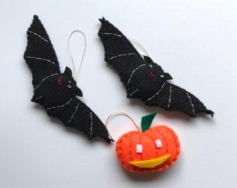 Bats and pumpkin -halloween ornaments -