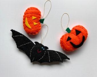 Bat and pumpkin ornaments