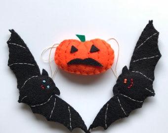 Halloween decors - bats and pumpkin -