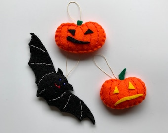 Halloween decorations - bat, pumpkins -