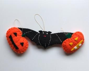 Bat and pumpkin decor