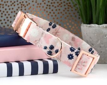 Floral Dog Collar - Blush, Pink, Navy, Rose Gold ~ Floral Print Cotton Fabric Dog Collar ~ Fashion Dog Collar~ Sandy Paws Collar Co